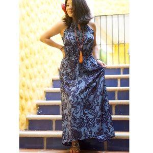 LOFT blue floral maxi dress